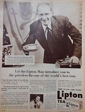 """1956 Lipton Tea print ad depicts man in suit serving cup of tea """"Let the Lipton Man introduce you to the priceless flavour of the world's best tea"""", Australia"""