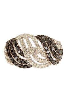 Twisted Two-Tone Diamond Ring by Black & White Diamonds (=)