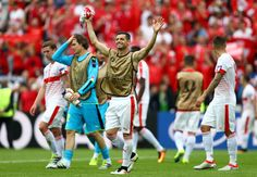 Blerim Dzemaili of Switzerland celebrates his team's 1-0 win in the UEFA EURO 2016 Group A match between Albania and Switzerland at Stade Bollaert-Delelis on June 11, 2016 in Lens, France.
