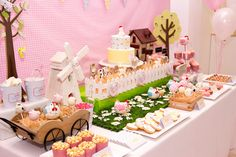 A Gorgeous Pastel Barnyard Party: Side view of dessert table