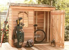 Cedarshed's Banff utility sheds are a small shed kit that come with all assembly hardware and plans included. Makes an ideal storage solution for garden tools.