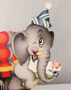 Circus Birthday Party Hat Wearing Elephant Holding Pink Flower in His Trunk Paper Ephemera