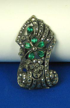 Vintage Pot Metal Marcasite Pear Cut Glass Dress by judysgems2, $69.99