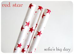 50 Red Star Straws with Printable Flags by SofiesBigDay on Etsy