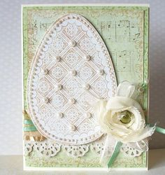 handmade Easter card ... shabby chic ... large die cut egg with pearls ... fabrick flower ... lovely vintage look ...