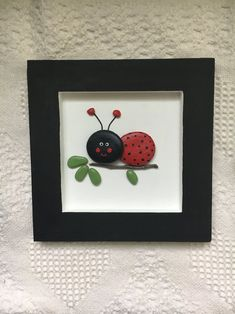 Lady Bug Wall Art Lady Bug Decor Framed Pebble Art Nursery Wall Hanging Kid S Bedroom Wall Art Baby Shower Gift Unique Gift - Painting Stone Crafts, Rock Crafts, Button Art, Button Crafts, Stone Painting, Diy Painting, Fabric Painting, Diy Wall Decor For Bedroom, Bedroom Wall