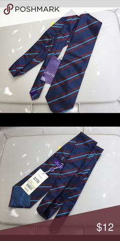 NWT Hunt Club Men's Silk Blue Stripe Tie New with tags men's Hunt Club striped tie has two different color blues and burgundy. Made in Italy of 100% silk. Hunt Club Accessories Ties