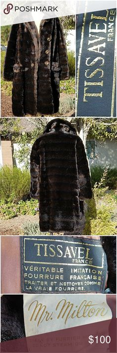 "Tissavel France Vtg 50's Vegan Mink Coat MEASUREMENTS:  🛍 Shld - Shld 18"" 🛍 Bust 24"" across 🛍 Length 34"" 🛍 Sleeve 23""  CONDITION: Excellent Vintage SIZE: No size on label. My guess is Large. Refer to measurements  Simulated Fur  Rich dark chocolate brown simulated Mink Fur Coat 3  large hammered buttons and button at collar Fully lined with pockets for the hands Tissavel of France Jackets & Coats"