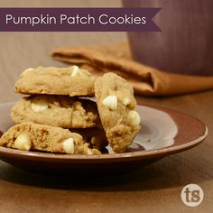 Tastefully Simple's Pumpkin Patch Cookies Recipe │ Soft and chewy pumpkin cookies mixed with walnuts and white chocolate chips.