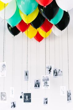 Simple #graduation party DIY: hang pictures of class superlatives from balloons