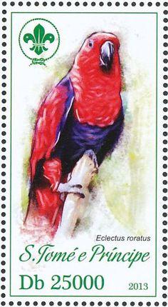 Santo Tome y Príncipe 2013 - El Loro Eclecto o Ecléctico,originario de las Islas Salomón, Nueva Guinea, nordeste de Australia y las Molucas