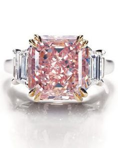 Extremely rare fancy-intense pink-diamond ring in platinum setting from Harry Winson