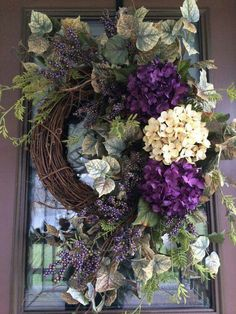 Items similar to Hydrangea Wreath, Summer Wreath, Spring Wreath, Purple Wreath, Front Door Wreath on Etsy Spring Door Wreaths, Summer Wreath, Wreaths For Front Door, Christmas Wreaths, Winter Christmas, Holiday, Purple Wreath, Floral Wreath, Ideas Decoracion Navidad