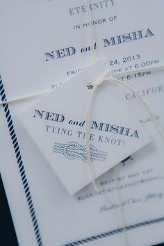 Lovely #nautical #navyblue #wedding #invitation from Copper Willow at our workshop. Image :: Krystal Mann Photography | Invitation :: Copper Willow Paper Studio