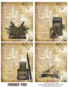 Ephemera's Vintage Garden: Free Printable - Vintage Journaling Cards. For personal use only.