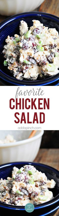 Chicken Salad Recipe - This chicken salad recipe makes a delicious, quick meal. Made with chicken, grapes, and roasted nuts, it is always a favorite! If you want to lighten up this delicious favorite, use Greek yogurt instead of mayo! // http://addapinch.