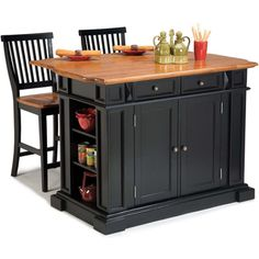Home Styles Nantucket Distressed Black Finish Kitchen Island | Overstock.com Shopping - The Best Deals on Kitchen Islands