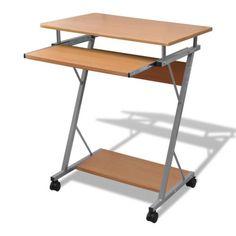 Computertisch Schreibtisch Bürotisch Computerwagen PC-Tisch auf Rollen braun #Ssparen25.com , sparen25.de , sparen25.info