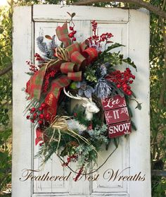 Christmas Door Wreath Woodland Christmas by FeatheredNestWreaths
