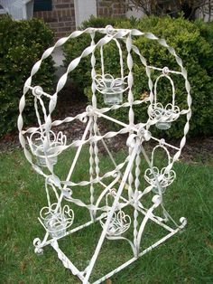 i would love thi for the garden :D (Vintage large White Ferris Wheel wrought iron by AnitaSperoDesign)