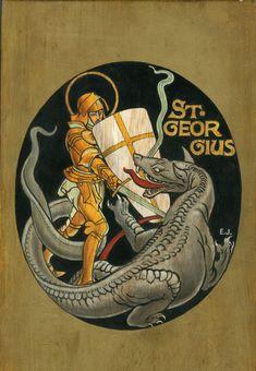 Saint-Georges Saint-Georges  Encre de Chine et gouache sur bois Monogrammé Rare…