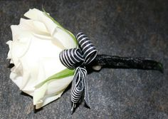 Single white rose buttonhole