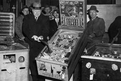 In New York, the pinball ban was executed in a particularly dramatic fashion. Mayor Fiorello La Guardia issued an ultimatum to the city's police force stating that their top priority would be to round up pinball machines and arrest their owners. La Guardia proceeded to spearhead massive Prohibition-style raids in which thousands of machines were rounded up, smashed with sledgehammers by the mayor and police commissioner. The machines were then dumped into the city's rivers.