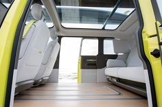 Volkswagen is bringing back one of its most iconic vehicles, the Microbus, but now in electric form. After years of teasing and spy shots, the VW have announced the electric microbus will become a reality in the resu Car Interior Sketch, Bus Interior, Interior Concept, Interior Architecture, Pick Up, Vw Buzz, Electric Van, Volkswagen Bus, Transportation Design