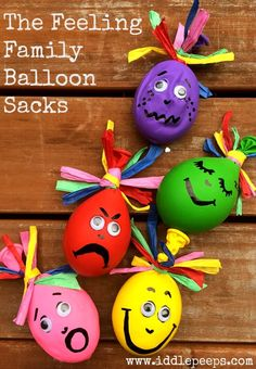 The Feeling Family Balloon Sacks Iddle Peeps Kids Activities - www.iddlepeeps.com fun and creative kids crafts and ecofriendly activities.