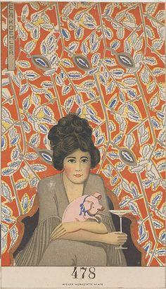 ¤ Neujahrskarte (New Year's Card)  Mela Koehler (Austrian, Vienna 1885–1960 Stockholm)  Published by Wiener Werkstätte Date: ca. 1907/8–14 Color lithograph