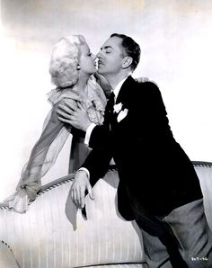 "William Powell and Jean Harlow in a publicity still for ""Reckless"", 1935."