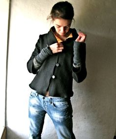 Wool Jacket, Black blazer, Womens jacket, Black cardigan, Black sweater, Womens clothing, Layering top, winter coat, wool blazer, petite by larimeloom on Etsy https://www.etsy.com/listing/17572588/wool-jacket-black-blazer-womens-jacket