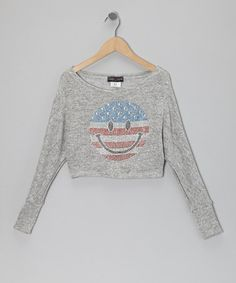 Take a look at this Gray USA Happy Face Sweater by Rated G on #zulily today!