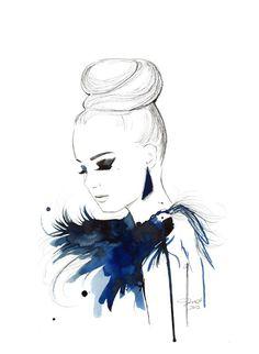 Impression de l'originale illustration de mode marqueur aquarelle, plume et de la Chine par Jessica Durrant-oiseau de paradis