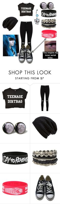 """Untitled #110"" by weird-emo ❤ liked on Polyvore featuring Boohoo, Barefoot Dreams, Hot Topic, ASOS and Converse"