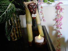 bamboo wall hanging tea light candle holder tiki craft home decor polynesian tropical hawaiian