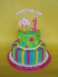 Cupcake Themed 1st Birthday Cake by CakesUniqueByAmy.com, via Flickr