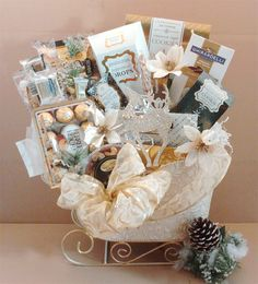 Image detail for -Golden Gifts Candy Bouquet / Gift Basket Sleigh