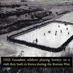1952: Canadian soldiers playing hockey on a rink they built in Korea during the Korean War.