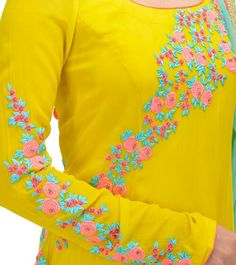 65 Super Ideas for embroidery designs for suits blue Embroidery On Kurtis, Hand Embroidery Dress, Kurti Embroidery Design, Embroidery Neck Designs, Embroidery On Clothes, Embroidery Works, Rose Embroidery, Hand Embroidery Stitches, Embroidery Fashion