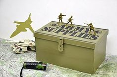 Army Supplies' Or 'Top Secret' Storage Box by Little Ella James Boys Army Bedroom, Military Bedroom, Army Room, Toy Storage Boxes, Kids Storage, Camo Rooms, Army Decor, Kids Army, Party