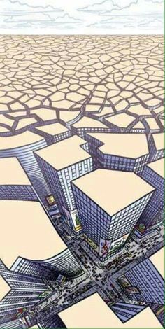 dry lake bed . fissure city illustration
