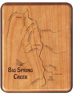 Big Spring Creek River Map Fly Box - Montana - Handcrafted, Custom Designed, Laser Engraved by Stonefly Studio. A Made in Montana Registered Product
