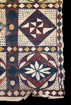Samoa 1960s Pulliam Collection  This long tapa cloth has freehand designs in a variety of colors.
