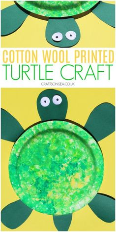 Cotton Wool Painted Turtle Craft for Kids - Crafts on Sea Summer Crafts For Kids, Diy Crafts For Kids, Fun Crafts, Art For Kids, March Crafts, Craft Kids, Simple Crafts, Kids Fun, Toddler Crafts