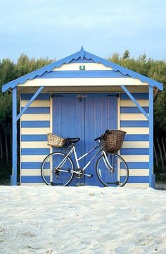 Cabana shed in french blue and white stripes - heaven! Foto Transfer, Beach Cabana, Beach Shack, Beach Cottages, Coastal Living, Gazebo, Beach House, Summertime, Backyard