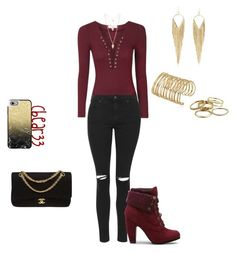 """""""Burgendy and Gold Outfit"""" by cbear33 on Polyvore featuring Topshop, Chanel, Jules Smith, Forever 21, Kendra Scott and Casetify"""