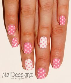 Pink & White Polka Dot Nail Art .x. http://www.naildeesignz.blogspot.co.uk/2016/03/pink-white-polka-dot-nail-art.html