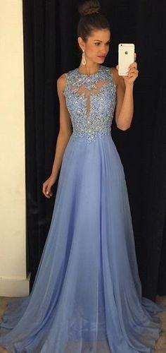 Elegant A Line Blue Beading Appliques Prom Dress Sexy Illusion Neckline Evening Dress for Women