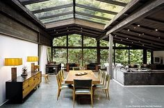 ridge skylight and peaked window wall - the woods and sky become part of the living space